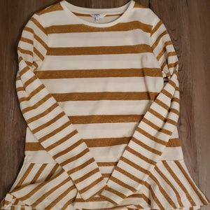 Gold and white long sleeve shirt
